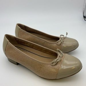 Hotter wide fit patent leather nude bow flats